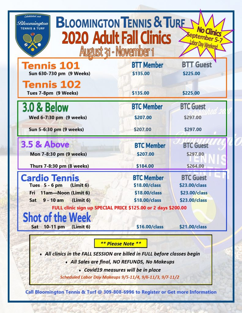 FALL JR Clinic Pricing 2020