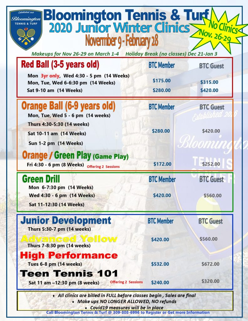 WINTER JR Clinic Pricing 2020