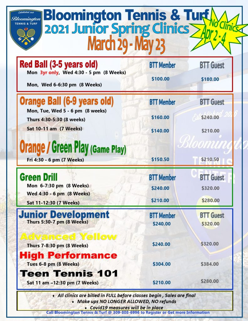 SPRING JR Clinic Pricing 2021