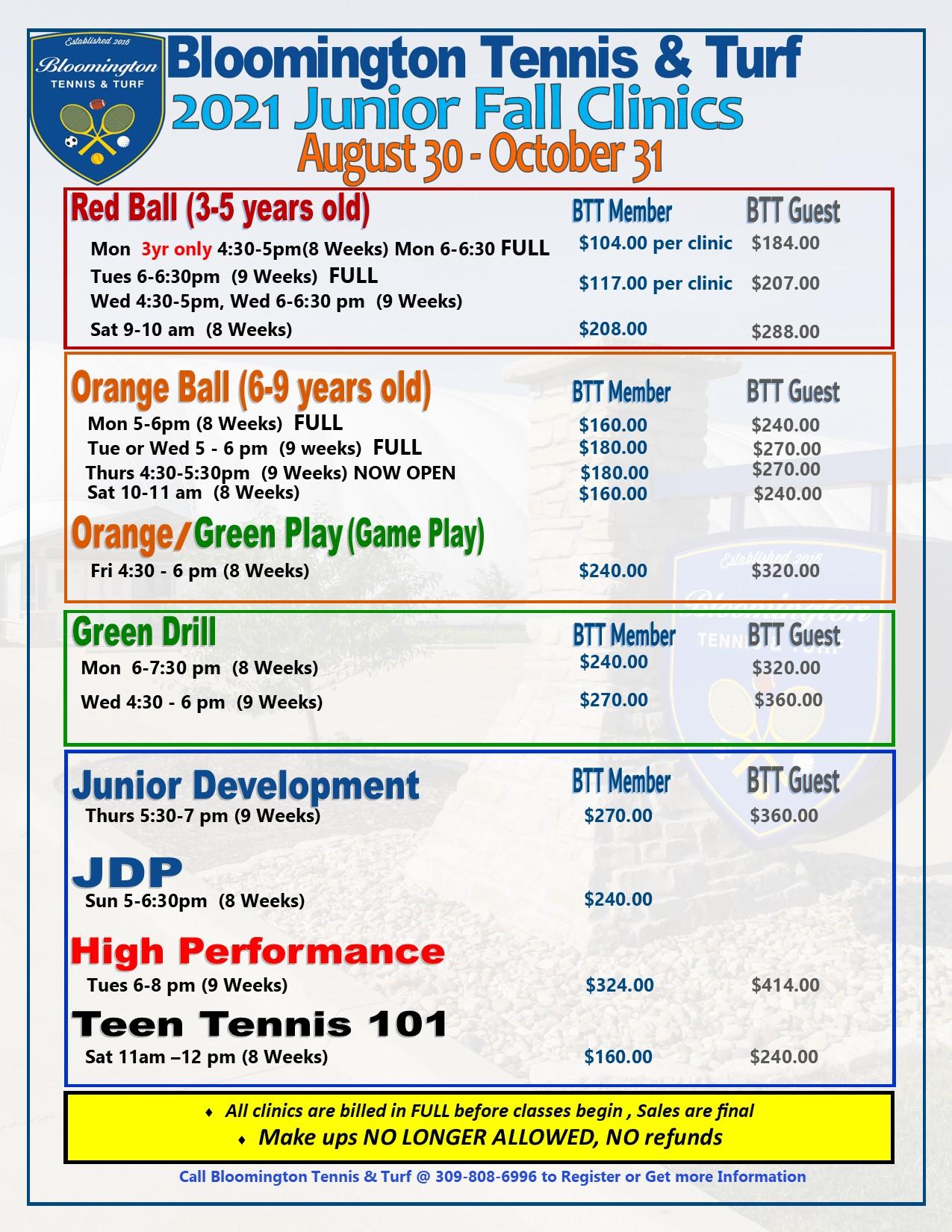 2021 Fall JR Clinic Pricing